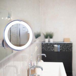 Make-Up en Scheer Spiegel met Ringverlichting - 360° Verstelbare Wandbevestiging met zuignap.